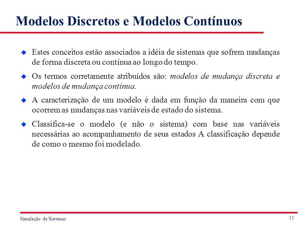 15 Simulação de Sistemas Modelos Discretos e Modelos Contínuos u Estes conceitos estão associados a idéia de sistemas que sofrem mudanças de forma dis