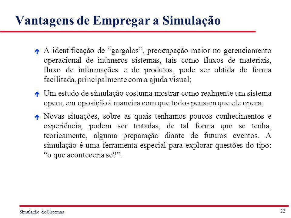 22 Simulação de Sistemas Vantagens de Empregar a Simulação é A identificação de gargalos, preocupação maior no gerenciamento operacional de inúmeros s
