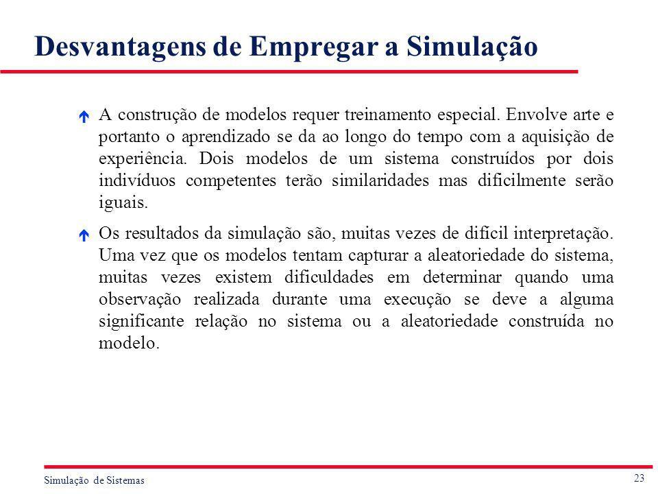 23 Simulação de Sistemas Desvantagens de Empregar a Simulação é A construção de modelos requer treinamento especial. Envolve arte e portanto o aprendi