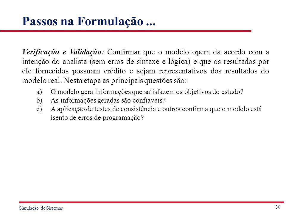 30 Simulação de Sistemas Passos na Formulação... Verificação e Validação: Confirmar que o modelo opera da acordo com a intenção do analista (sem erros