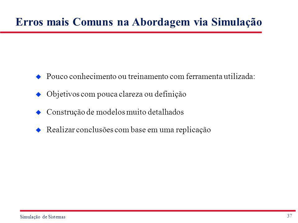 37 Simulação de Sistemas Erros mais Comuns na Abordagem via Simulação u Pouco conhecimento ou treinamento com ferramenta utilizada: u Objetivos com po