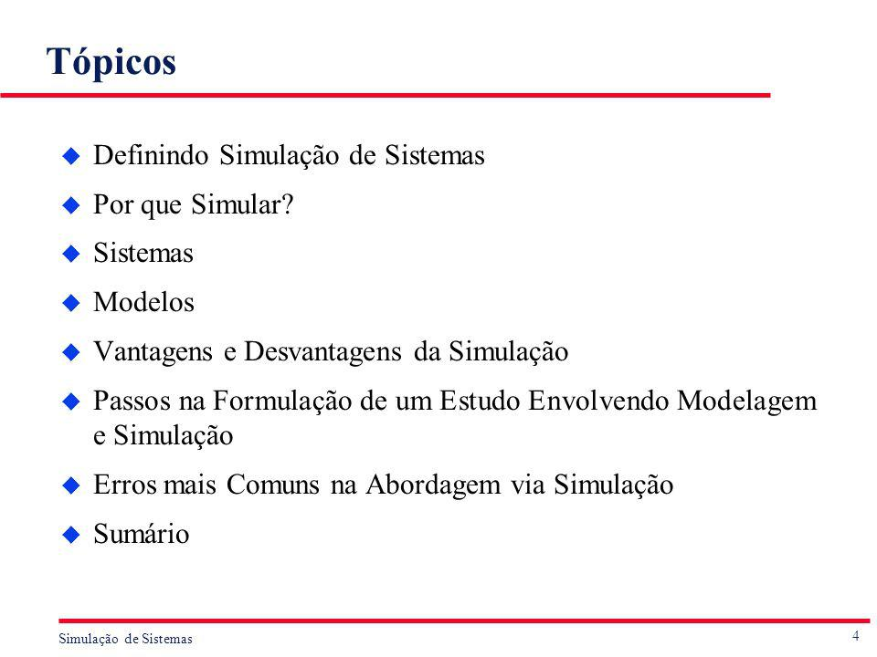 4 Simulação de Sistemas Tópicos u Definindo Simulação de Sistemas u Por que Simular? u Sistemas u Modelos u Vantagens e Desvantagens da Simulação u Pa