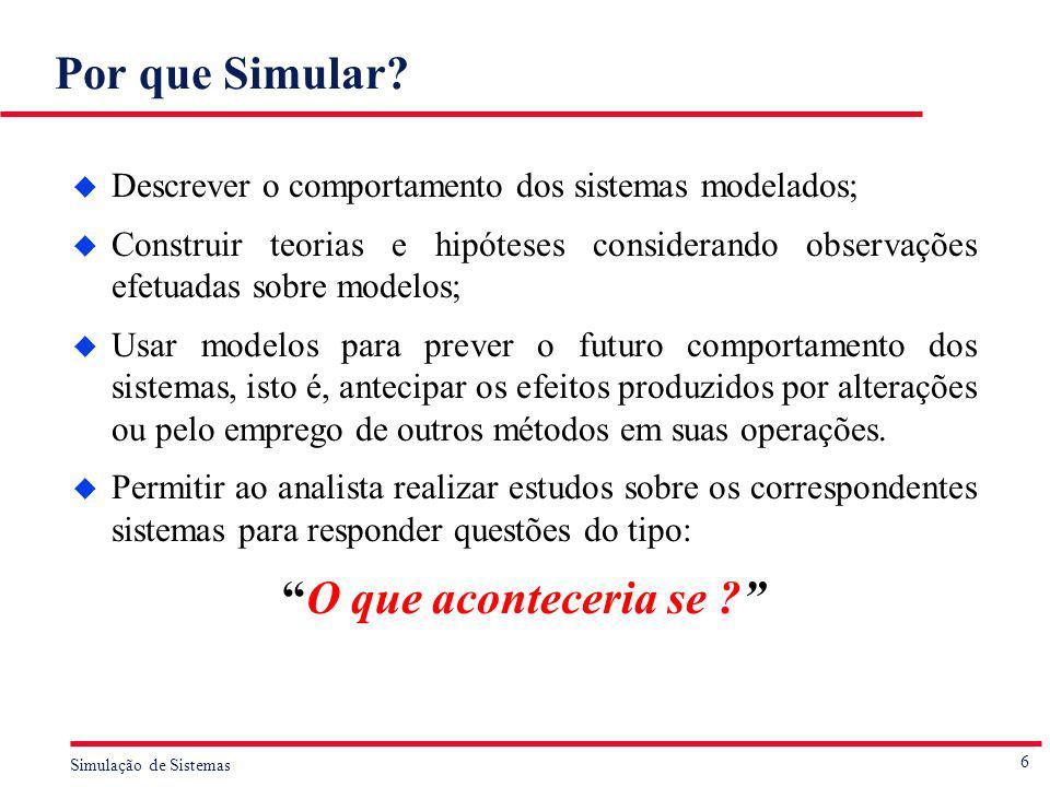 6 Simulação de Sistemas Por que Simular? u Descrever o comportamento dos sistemas modelados; u Construir teorias e hipóteses considerando observações