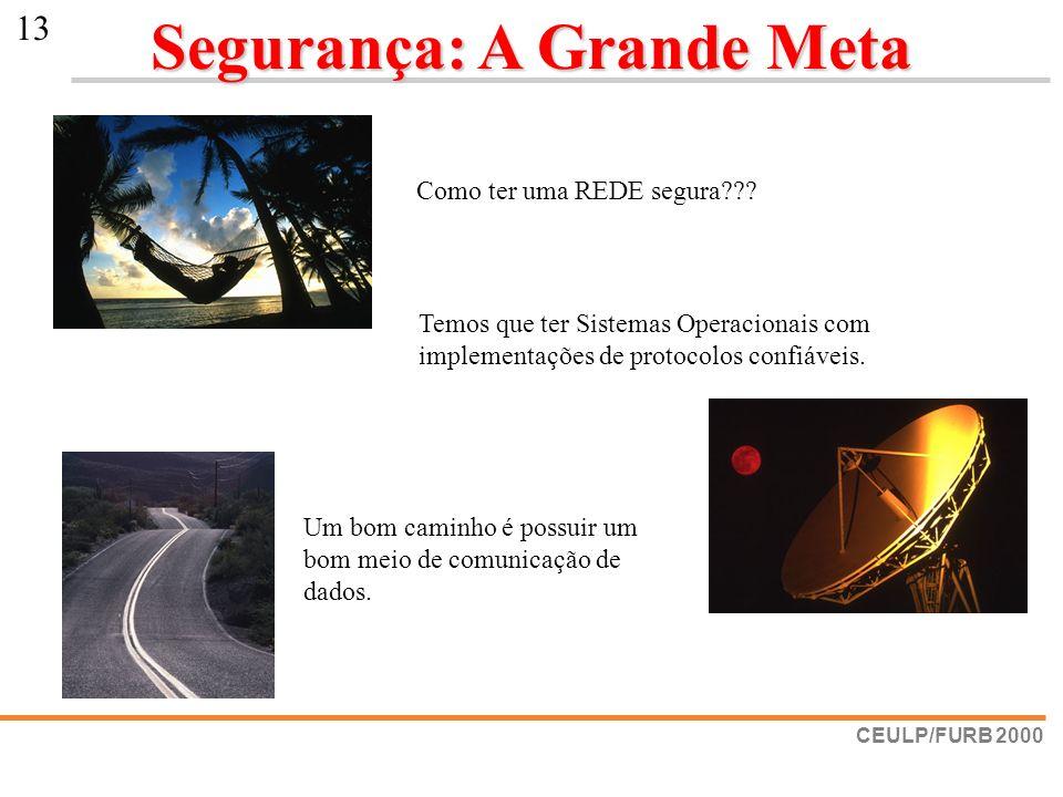 CEULP/FURB 2000 13 Segurança: A Grande Meta Como ter uma REDE segura??? Temos que ter Sistemas Operacionais com implementações de protocolos confiávei