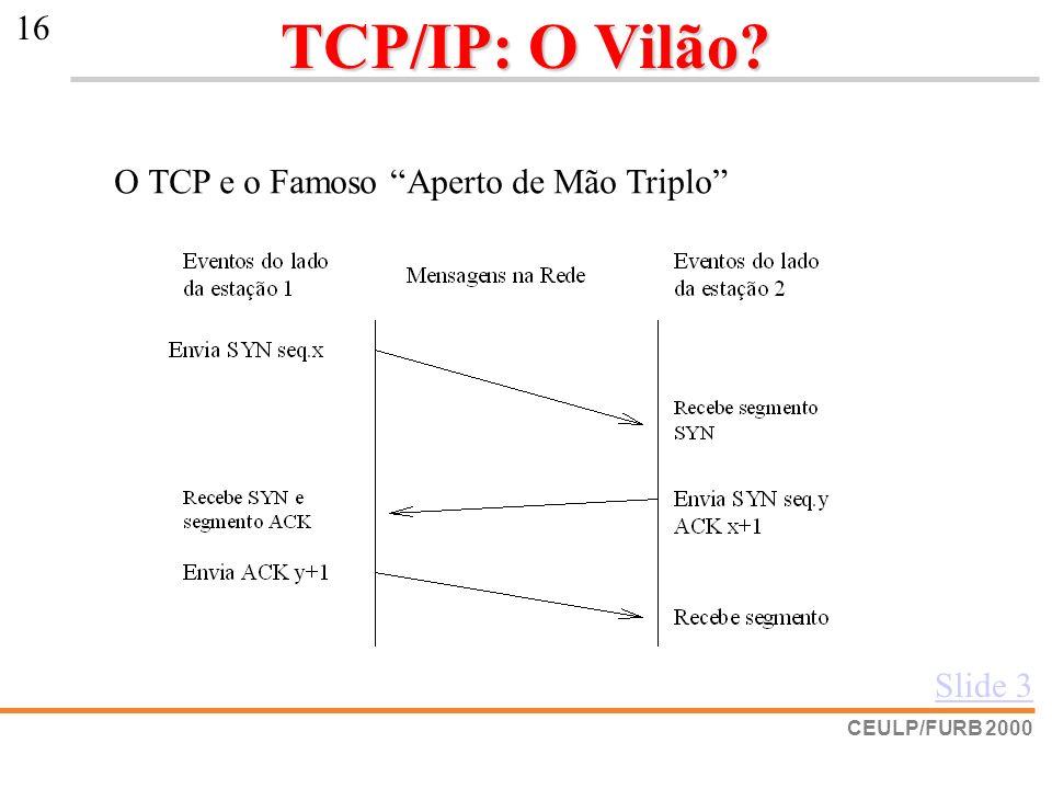 CEULP/FURB 2000 16 TCP/IP: O Vilão? O TCP e o Famoso Aperto de Mão Triplo Slide 3