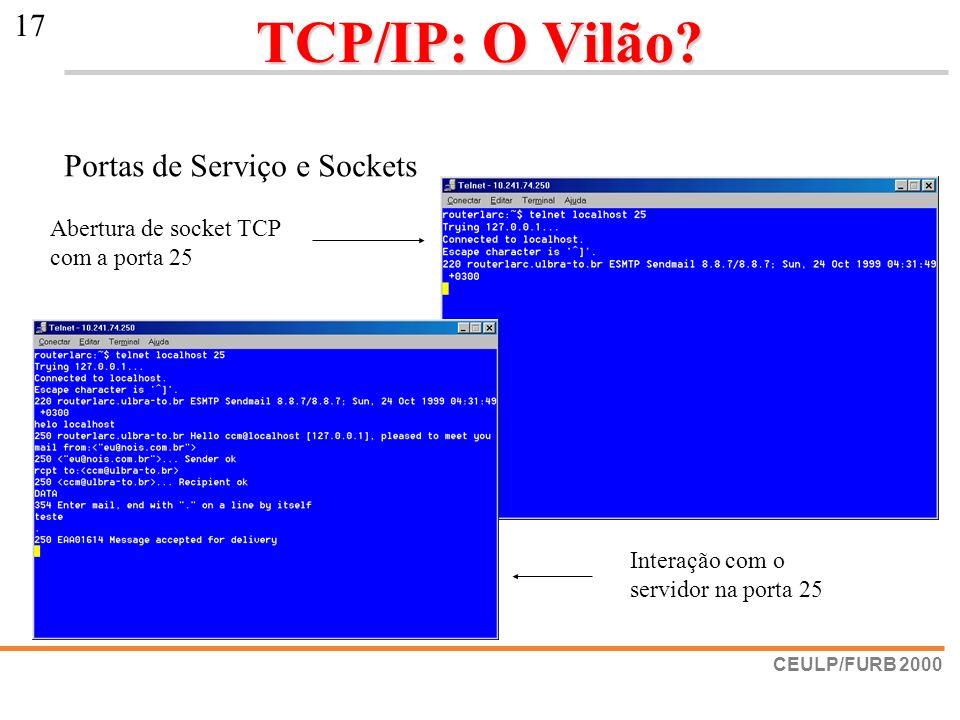 CEULP/FURB 2000 17 TCP/IP: O Vilão? Portas de Serviço e Sockets Abertura de socket TCP com a porta 25 Interação com o servidor na porta 25