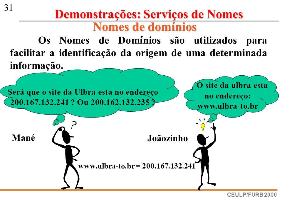 CEULP/FURB 2000 31 O site da ulbra esta no endereço: www.ulbra-to.br Será que o site da Ulbra esta no endereço 200.167.132.241 ? Ou 200.162.132.235 ?