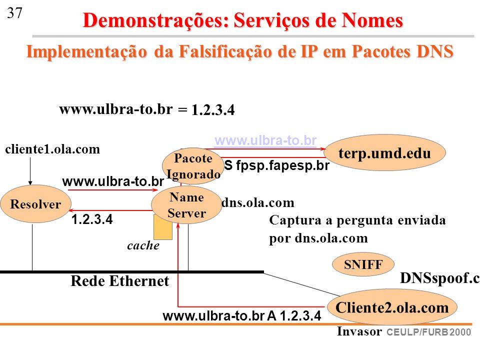 CEULP/FURB 2000 37 Implementação da Falsificação de IP em Pacotes DNS www.ulbra-to.br br NS fpsp.fapesp.br 1.2.3.4 terp.umd.edu www.ulbra-to.br = 1.2.
