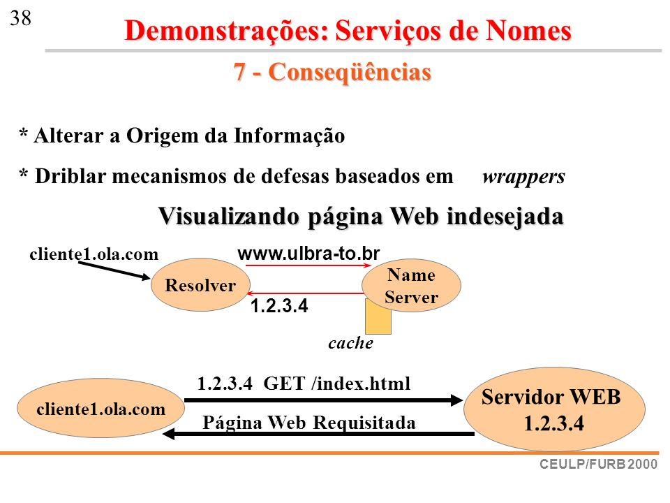 CEULP/FURB 2000 38 7 - Conseqüências cliente1.ola.com Servidor WEB 1.2.3.4 1.2.3.4 GET /index.html Página Web Requisitada * Alterar a Origem da Inform