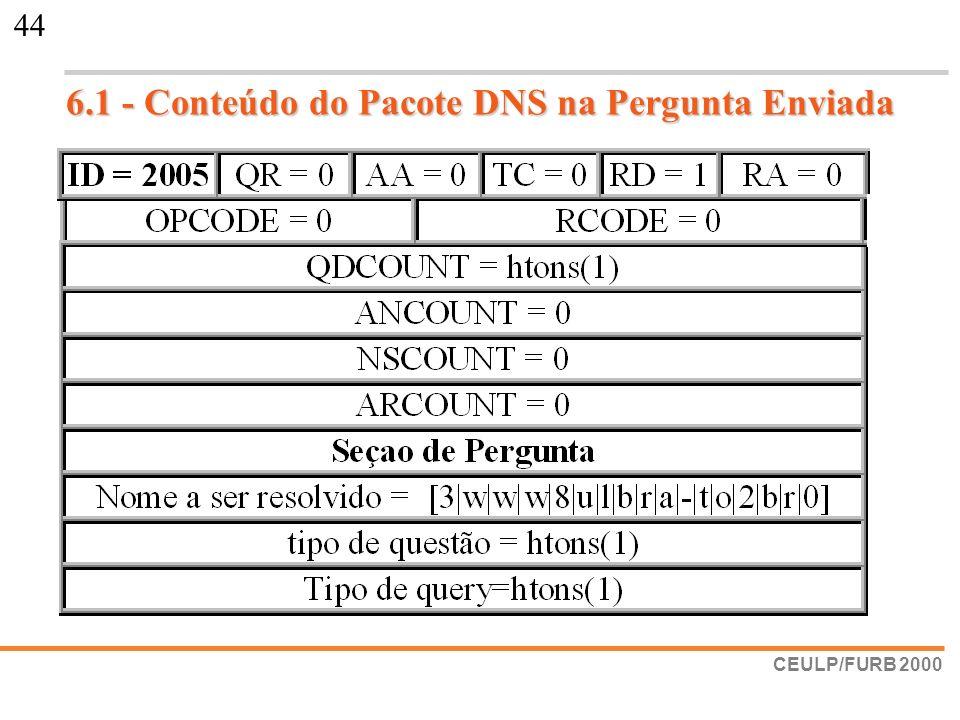 CEULP/FURB 2000 44 6.1 - Conteúdo do Pacote DNS na Pergunta Enviada