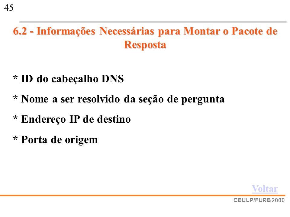 CEULP/FURB 2000 45 6.2 - Informações Necessárias para Montar o Pacote de Resposta * ID do cabeçalho DNS * Nome a ser resolvido da seção de pergunta *