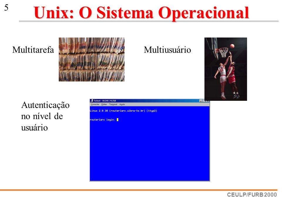 CEULP/FURB 2000 5 Unix: O Sistema Operacional MultiusuárioMultitarefa Autenticação no nível de usuário
