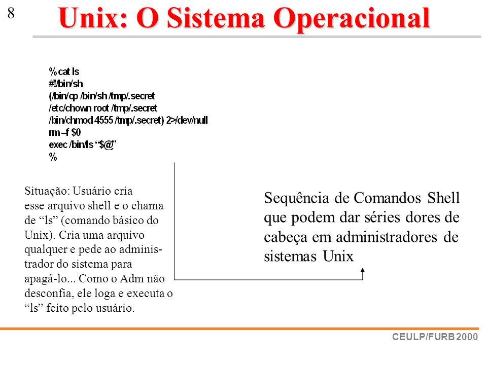 CEULP/FURB 2000 8 Unix: O Sistema Operacional Sequência de Comandos Shell que podem dar séries dores de cabeça em administradores de sistemas Unix Sit