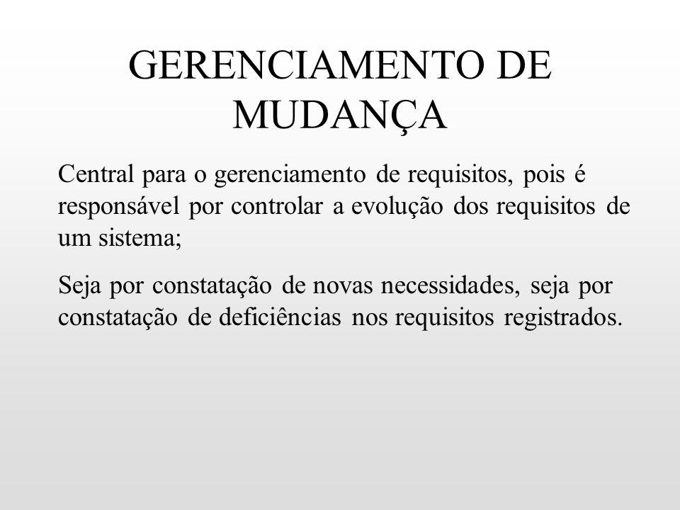 GERENCIAMENTO DE MUDANÇA Central para o gerenciamento de requisitos, pois é responsável por controlar a evolução dos requisitos de um sistema; Seja po