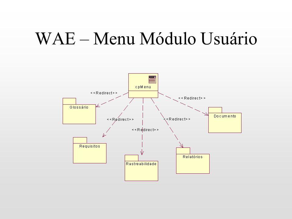 WAE – Menu Módulo Usuário