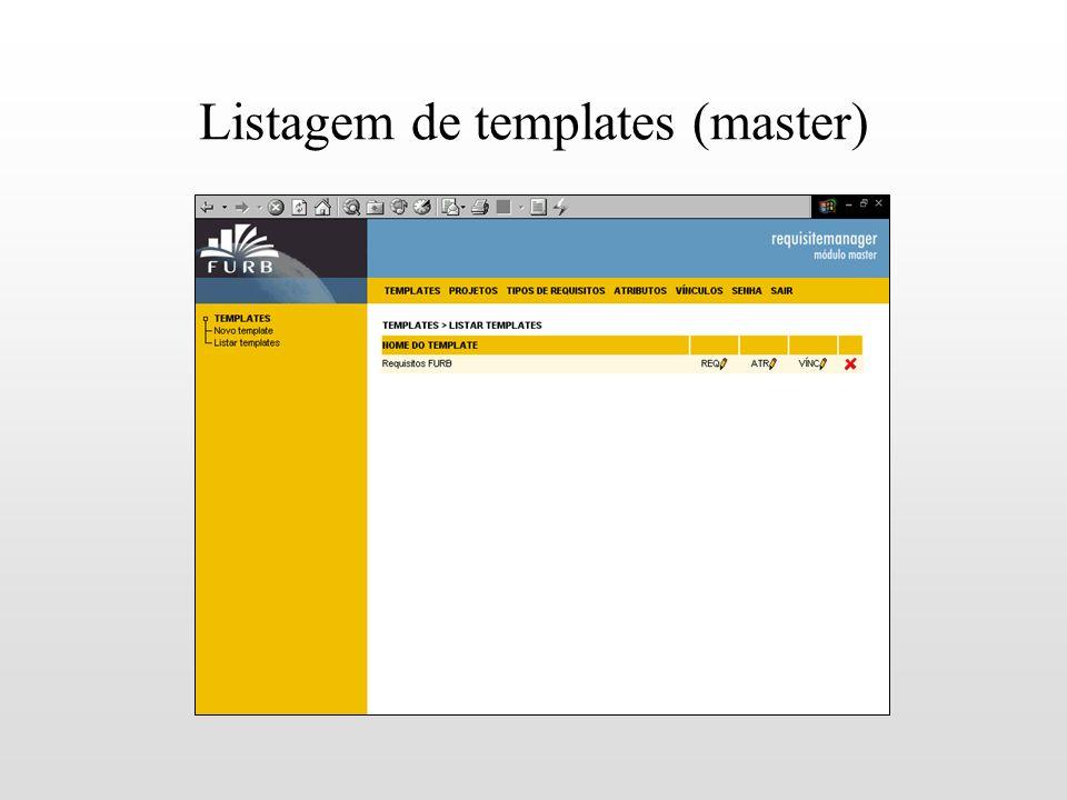 Listagem de templates (master)