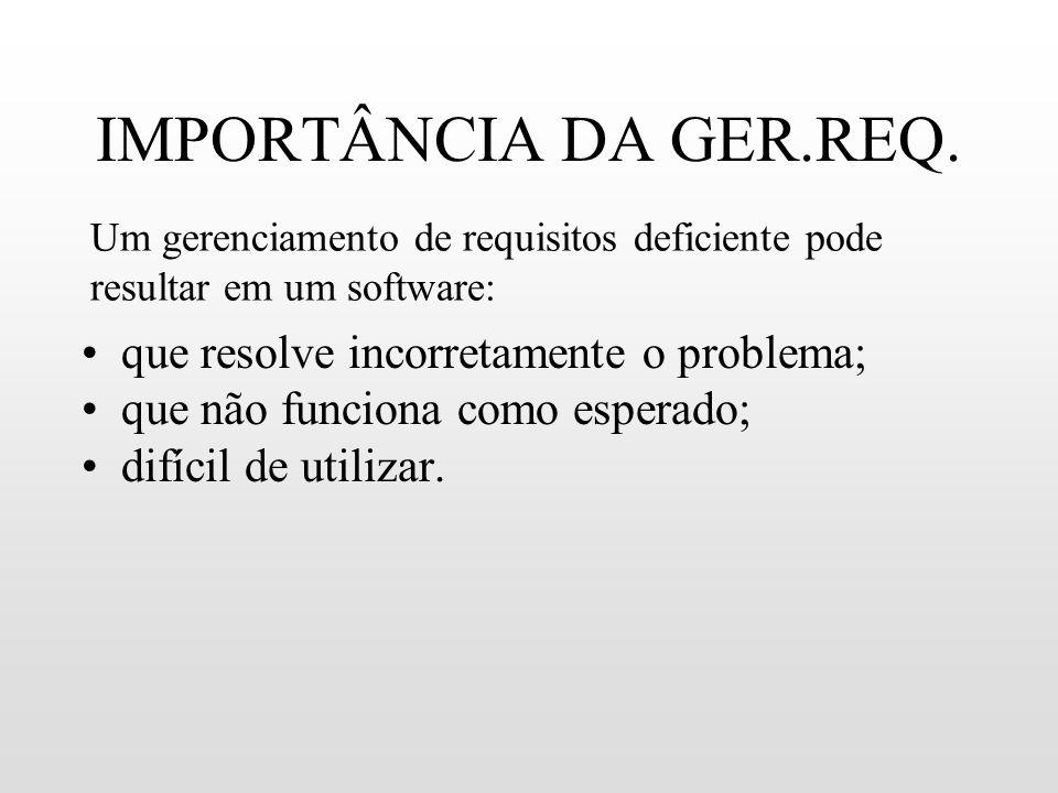 IMPORTÂNCIA DA GER.REQ. que resolve incorretamente o problema; que não funciona como esperado; difícil de utilizar. Um gerenciamento de requisitos def