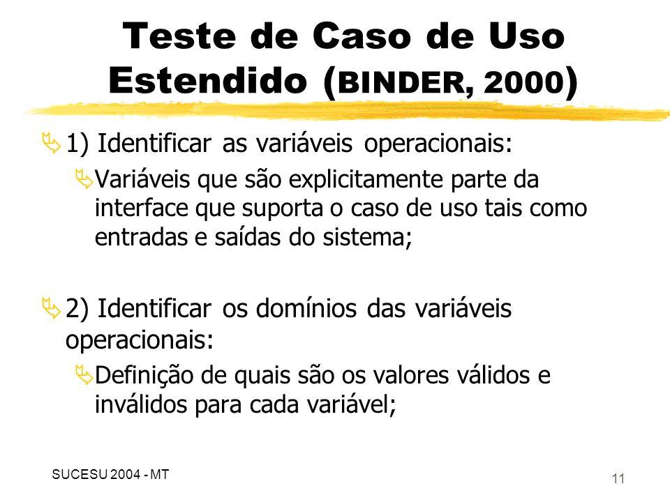 12 Teste de Caso de Uso Estendido ( BINDER, 2000 ) 3) Desenvolver os relacionamentos operacionais: Modelagem do relacionamento entre as variáveis operacionais que determinam diferentes respostas do sistema.