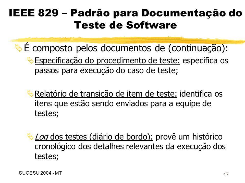 18 IEEE 829 – Padrão para Documentação do Teste de Software É composto pelos documentos de (continuação): Relatório de incidente: documenta qualquer evento que ocorreu durante o processo de teste e que requer investigação; Relatório com resumo dos testes: sumariza os resultados dos testes projetados.