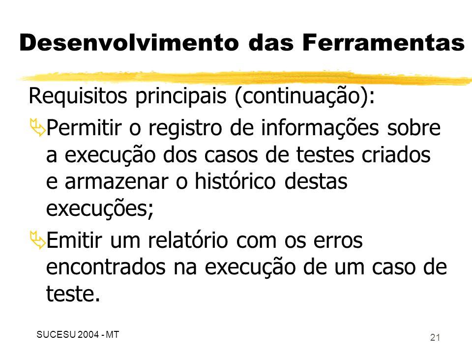 22 Desenvolvimento das Ferramentas Digrama de casos de uso (principais): SUCESU 2004 - MT