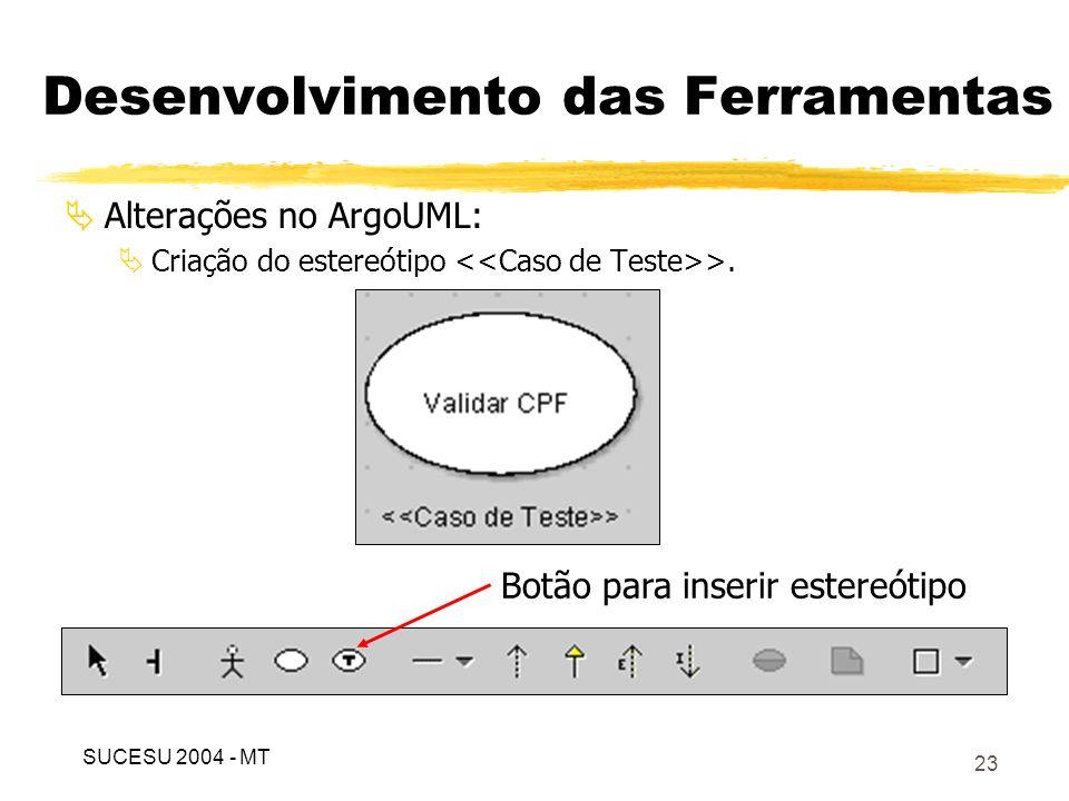 24 Desenvolvimento das Ferramentas Alterações no ArgoUML: Criação de duas guias para inserir informações para teste; SUCESU 2004 - MT