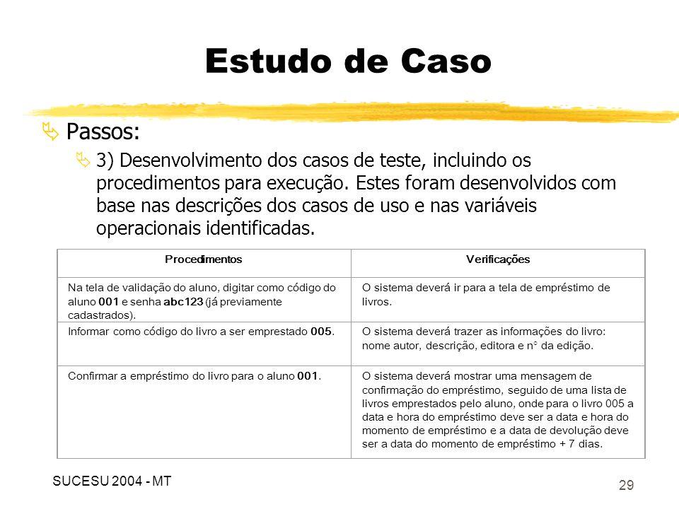 30 Especificação dos testes, para o caso de uso emprestar livro, no ArgoUML: Estudo de Caso SUCESU 2004 - MT
