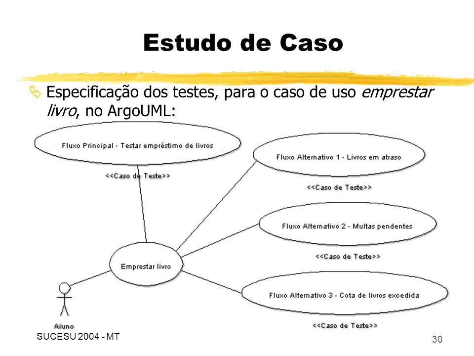 31 Especificação do caso de teste, para o fluxo principal, no ArgoUML: Estudo de Caso SUCESU 2004 - MT