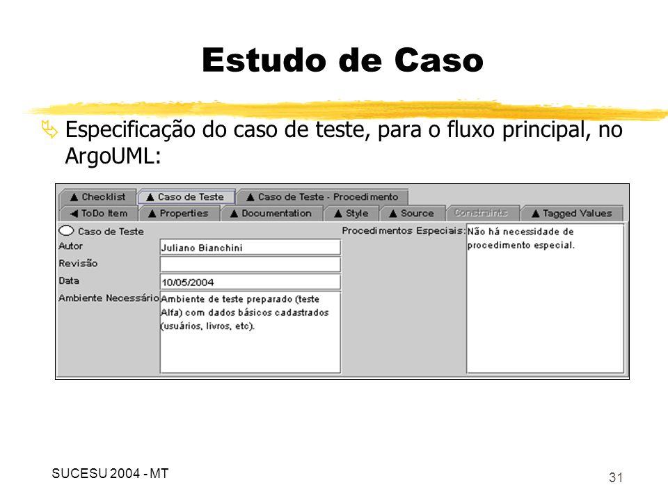 32 Especificação do caso de teste, para o fluxo principal, no ArgoUML: Estudo de Caso SUCESU 2004 - MT