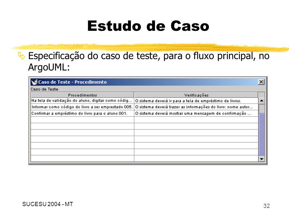 33 Importação dos dados do ArgoUML para a ferramenta TestCen: Estudo de Caso SUCESU 2004 - MT