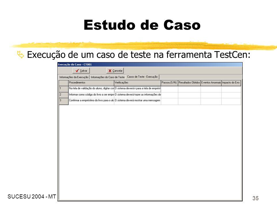 36 A utilização das metodologias apresentadas por Binder (2000) e Heumann (2004) proporcionam uma criação mais fácil e ágil dos casos de teste; A utilização das ferramentas ferramentas (customização do ArgoUML e o TestCen) facilitou e organizou o processo de teste, contribuindo também para a re-execução dos testes nas iterações/manutenções posteriores; Conclusões SUCESU 2004 - MT
