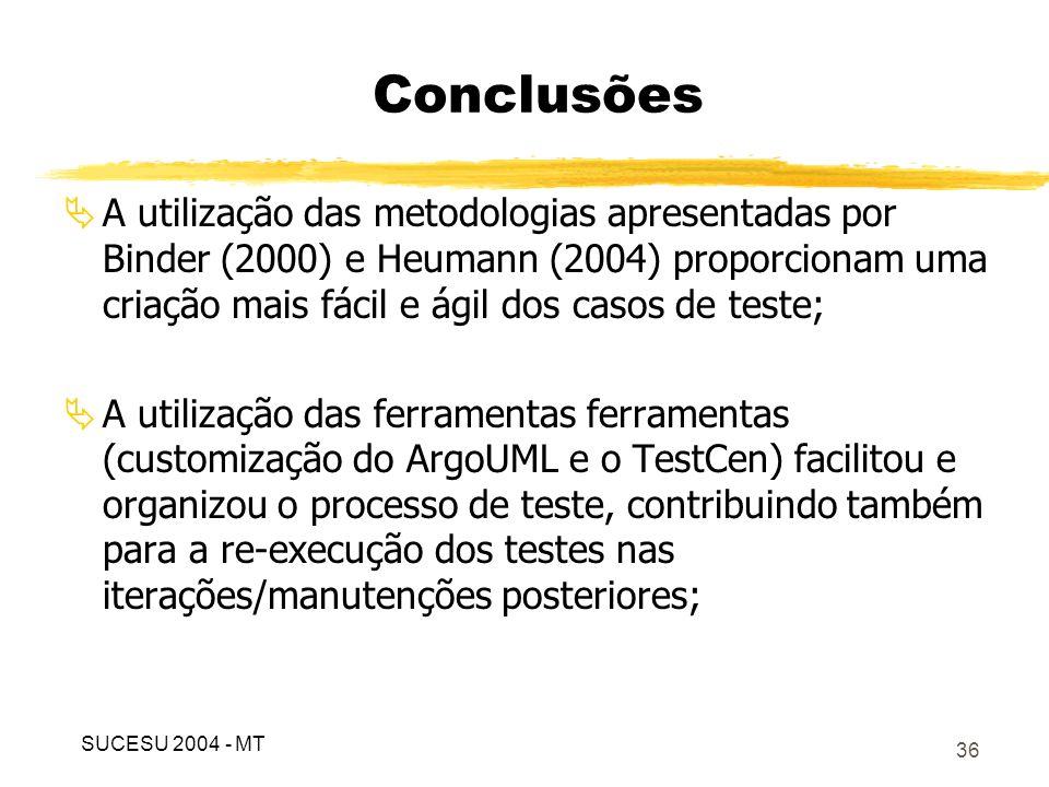 37 A criação dos casos de teste é facilitada a medida que a especificação dos casos de uso é feita de forma detalhada; A ferramenta apresentada apenas supre parte do que a atividade de teste deve contemplar, outros tipos de teste devem ser aplicados; Conclusões SUCESU 2004 - MT