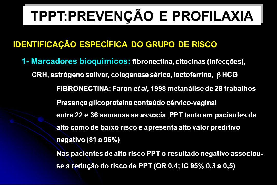 IDENTIFICAÇÃO ESPECÍFICA DO GRUPO DE RISCO 1- Marcadores bioquímicos: fibronectina, citocinas (infecções), CRH, estrógeno salivar, colagenase sérica,