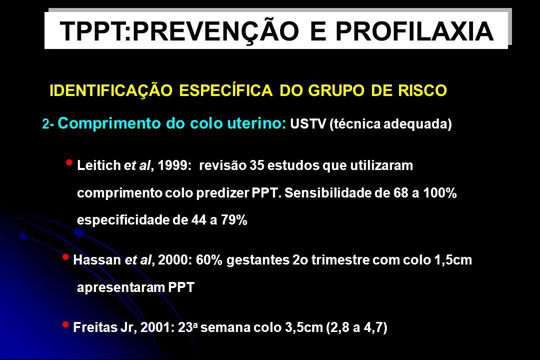 IDENTIFICAÇÃO ESPECÍFICA DO GRUPO DE RISCO 2- Comprimento do colo uterino: USTV (técnica adequada) Leitich et al, 1999: revisão 35 estudos que utiliza
