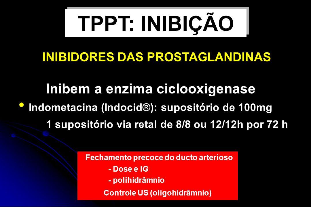 Inibem a enzima ciclooxigenase Indometacina (Indocid®): supositório de 100mg 1 supositório via retal de 8/8 ou 12/12h por 72 h Fechamento precoce do d