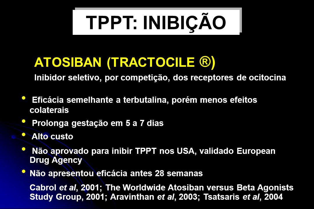 ATOSIBAN (TRACTOCILE ®) Inibidor seletivo, por competição, dos receptores de ocitocina Eficácia semelhante a terbutalina, porém menos efeitos colatera