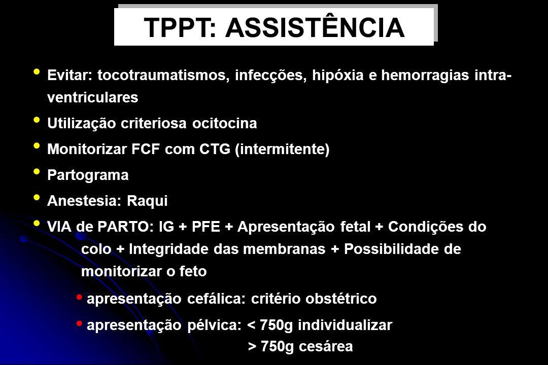 Evitar: tocotraumatismos, infecções, hipóxia e hemorragias intra- ventriculares Utilização criteriosa ocitocina Monitorizar FCF com CTG (intermitente)