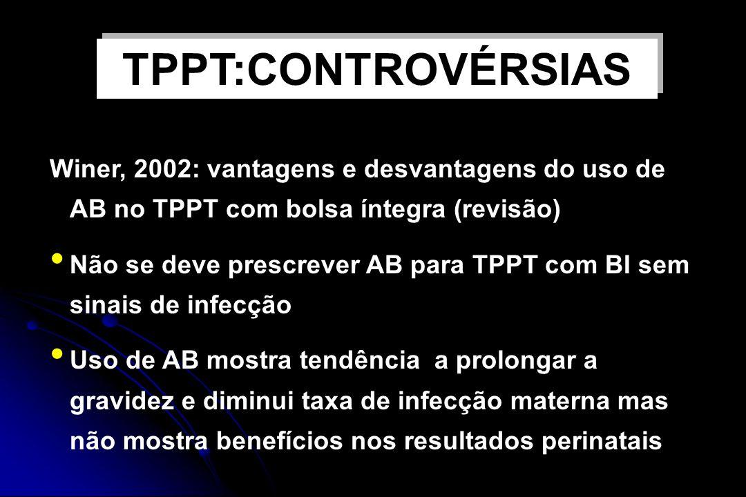 USO DE ANTIBIÓTICOS E TPPT Winer, 2002: vantagens e desvantagens do uso de AB no TPPT com bolsa íntegra (revisão) Não se deve prescrever AB para TPPT