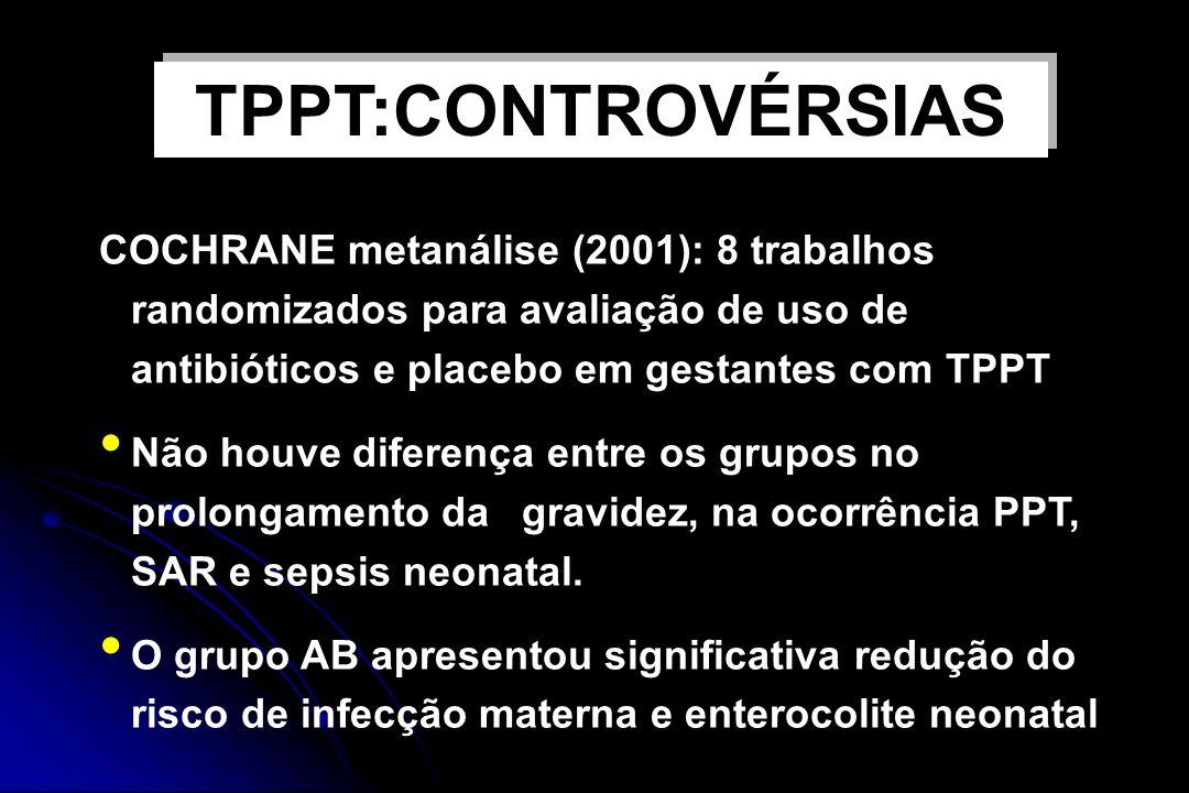 USO DE ANTIBIÓTICOS E TPPT COCHRANE metanálise (2001): 8 trabalhos randomizados para avaliação de uso de antibióticos e placebo em gestantes com TPPT