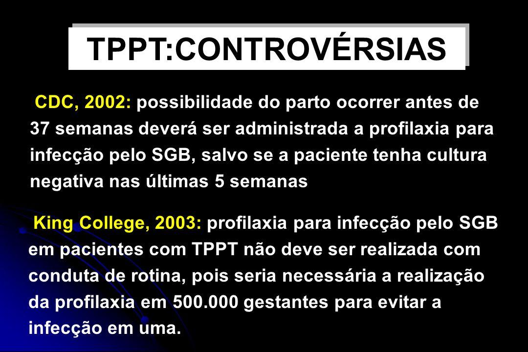 Profilaxia antibiótica para SGB CDC, 2002: possibilidade do parto ocorrer antes de 37 semanas deverá ser administrada a profilaxia para infecção pelo
