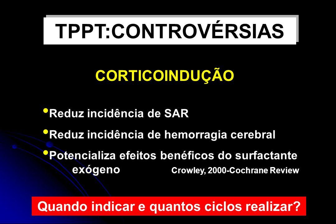 CORTICOINDUÇÃO Reduz incidência de SAR Reduz incidência de hemorragia cerebral Potencializa efeitos benéficos do surfactante exógeno Crowley, 2000-Coc