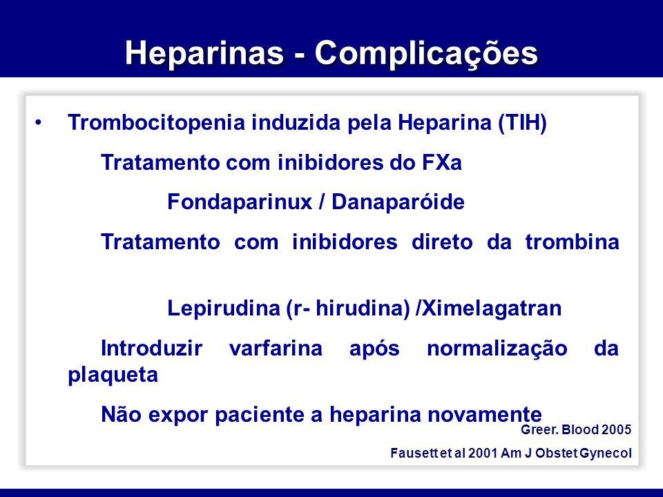 Heparinas - Complicações Greer. Blood 2005 Fausett et al 2001 Am J Obstet Gynecol Trombocitopenia induzida pela Heparina (TIH) Tratamento com inibidor