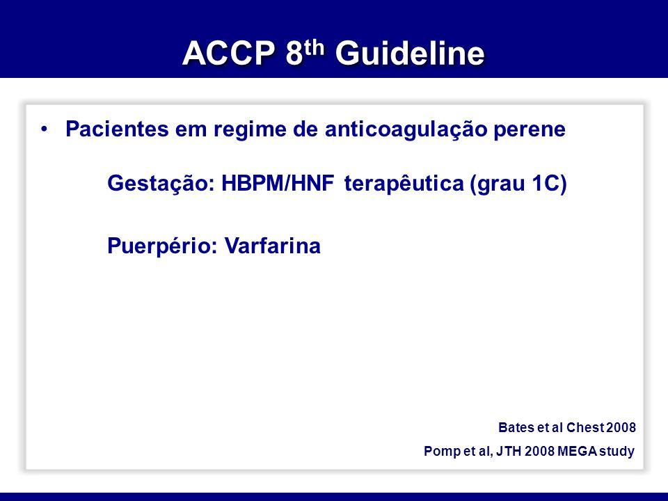 Pacientes em regime de anticoagulação perene Gestação: HBPM/HNF terapêutica (grau 1C) Puerpério: Varfarina Bates et al Chest 2008 Pomp et al, JTH 2008