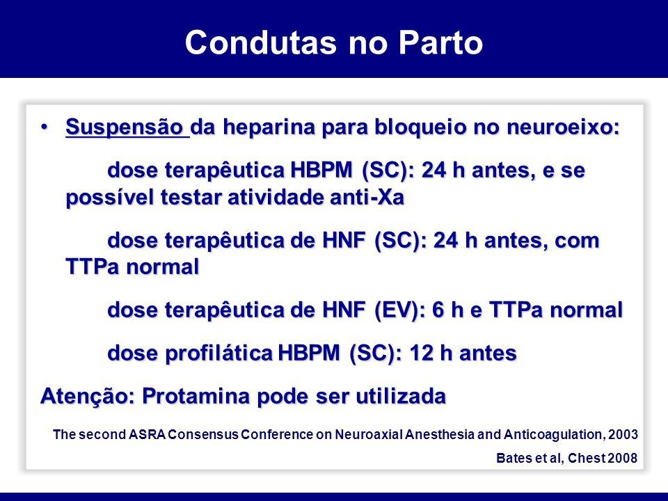 Suspensão da heparina para bloqueio no neuroeixo:Suspensão da heparina para bloqueio no neuroeixo: dose terapêutica HBPM (SC): 24 h antes, e se possív