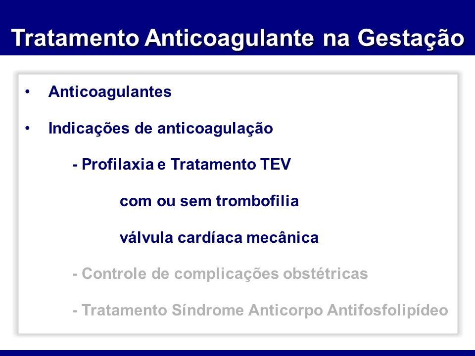Tratamento Anticoagulante na Gestação Anticoagulantes Indicações de anticoagulação - Profilaxia e Tratamento TEV com ou sem trombofilia válvula cardía