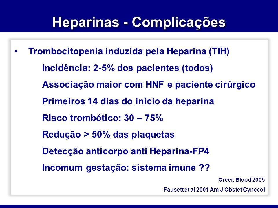 Heparinas - Complicações Greer. Blood 2005 Fausett et al 2001 Am J Obstet Gynecol Trombocitopenia induzida pela Heparina (TIH) Incidência: 2-5% dos pa
