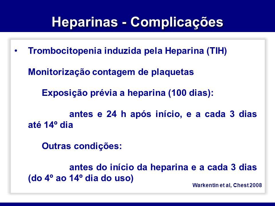Heparinas - Complicações Warkentin et al, Chest 2008 Trombocitopenia induzida pela Heparina (TIH) Monitorização contagem de plaquetas Exposição prévia