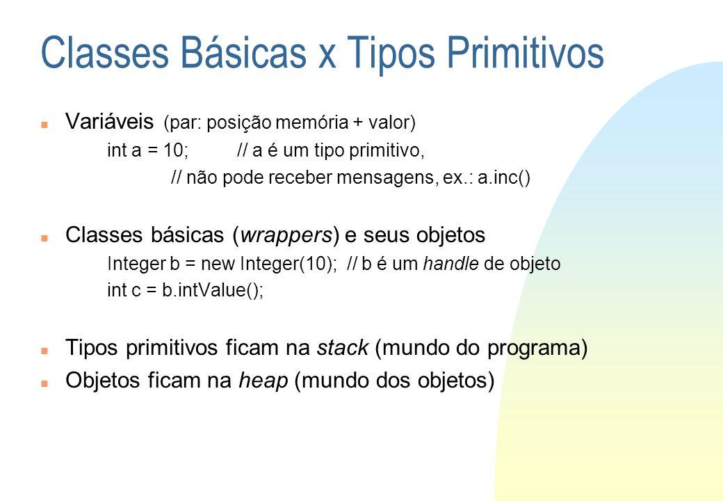 Classes Básicas x Tipos Primitivos Variáveis (par: posição memória + valor) int a = 10; // a é um tipo primitivo, // não pode receber mensagens, ex.:
