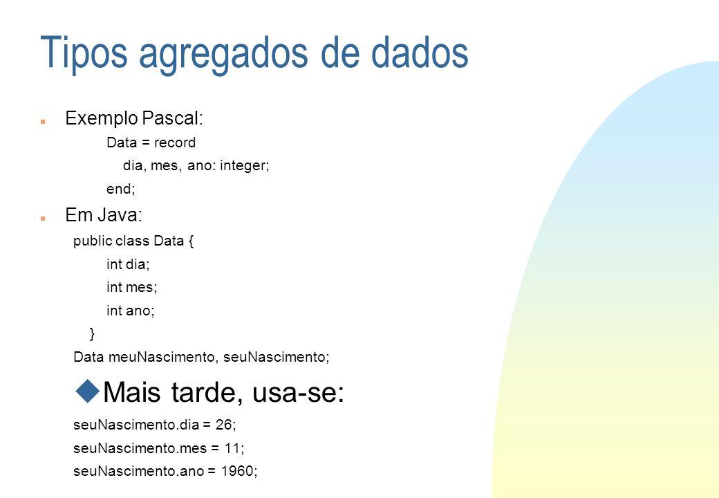 Tipos agregados de dados Exemplo Pascal: Data = record dia, mes, ano: integer; end; Em Java: public class Data { int dia; int mes; int ano; } Data meu