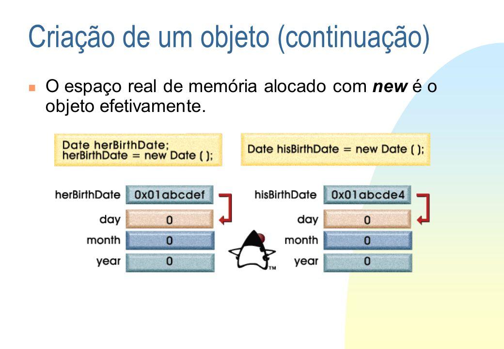 Criação de um objeto (continuação) O espaço real de memória alocado com new é o objeto efetivamente.