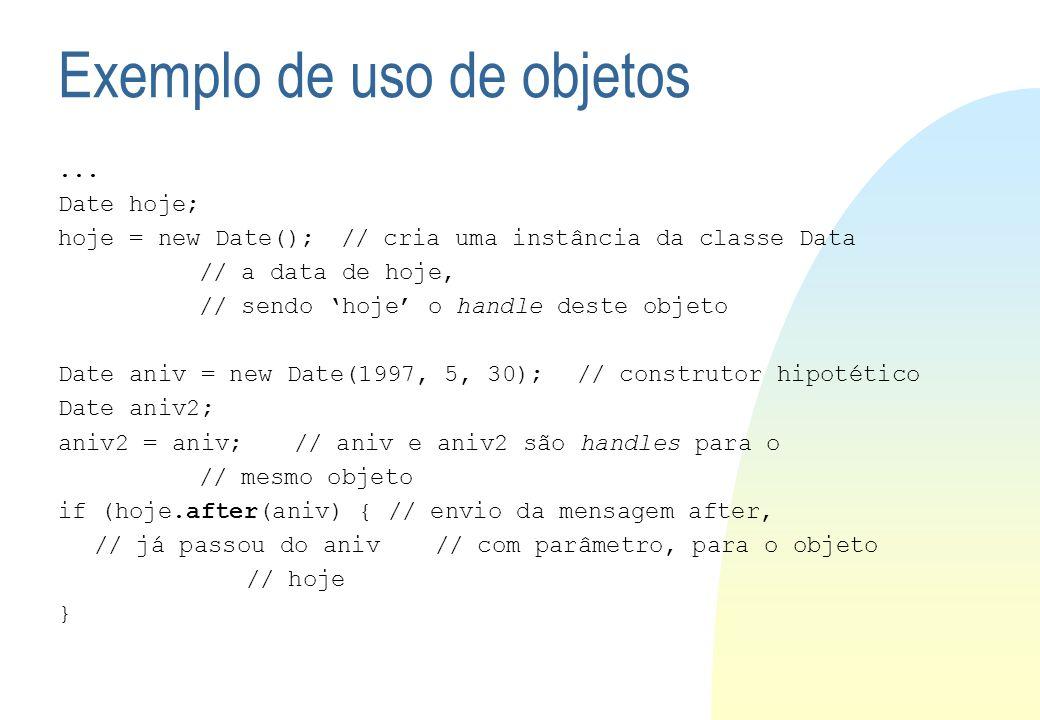 Exemplo de uso de objetos... Date hoje; hoje = new Date();// cria uma instância da classe Data // a data de hoje, // sendo hoje o handle deste objeto